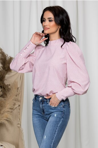 Bluza Amy roz cu buline si umeri bufanti