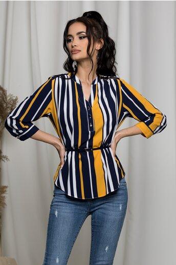 Bluza Aniela bleumarin cu dungi albe si galbene