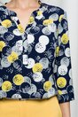 Bluza Aniela bleumarin cu imprimeuri galben si gri