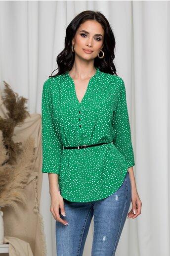 Bluza Aniela verde cu buline