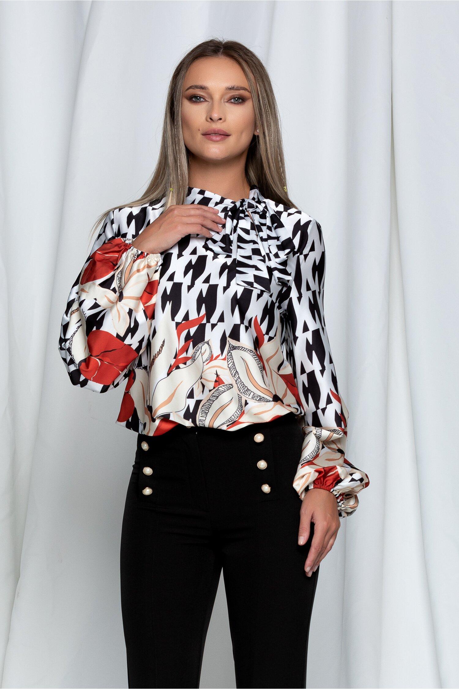 Bluza Anka alba cu imprimeu negru si frunze caramizii