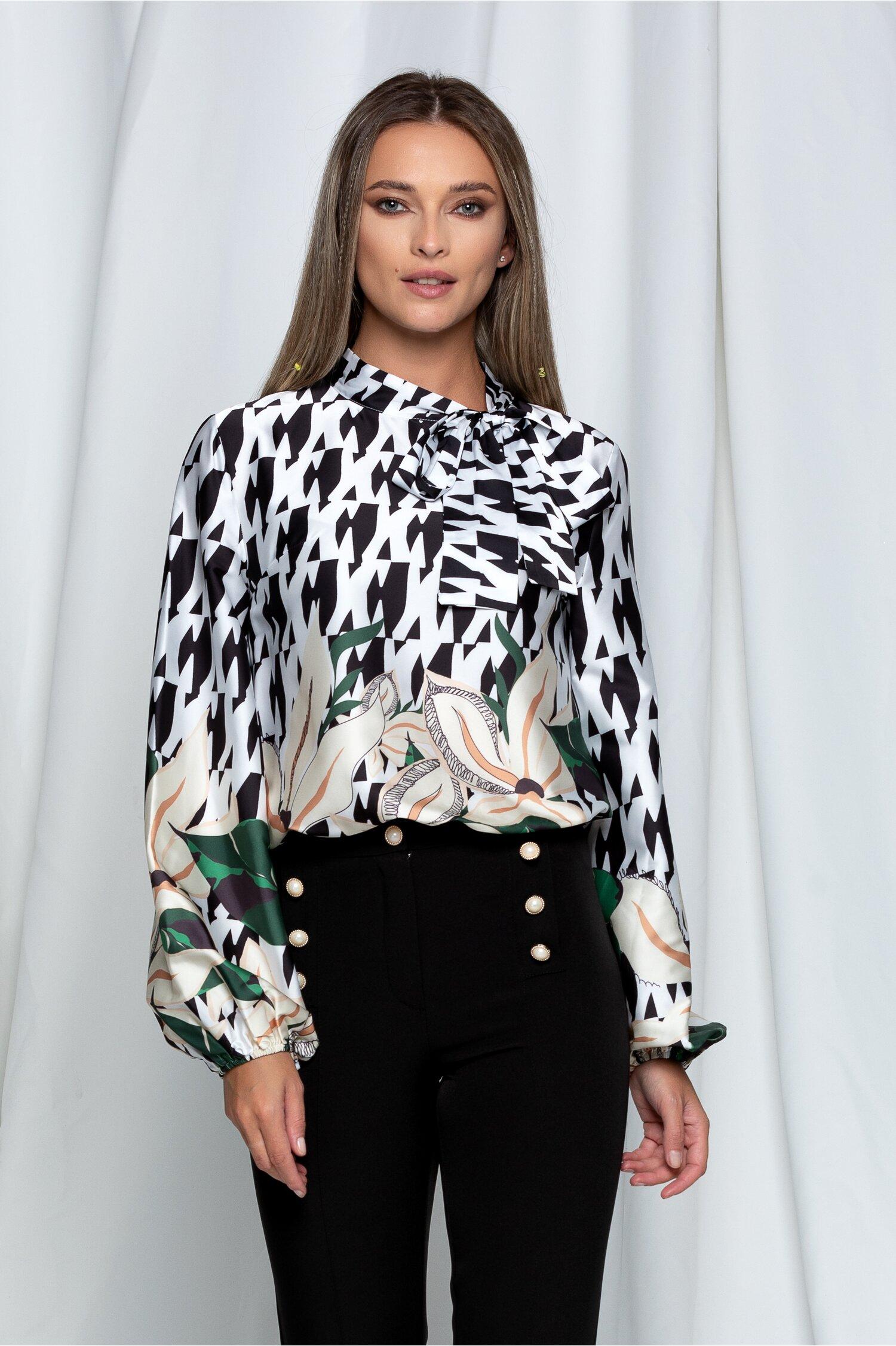 Bluza Anka alba cu imprimeu negru si frunze verzi