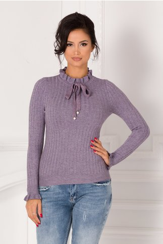 Bluza Antonia lila cu volanas la guler