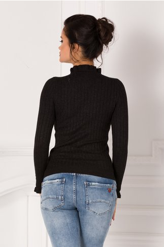 Bluza Antonia neagra cu volanas la guler