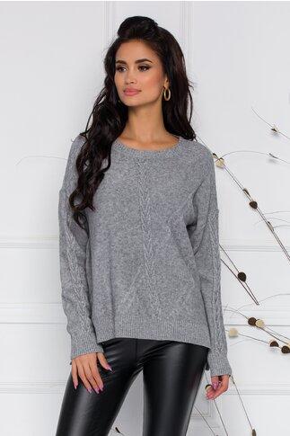Bluza Aria gri din tricot cu impletitura discreta