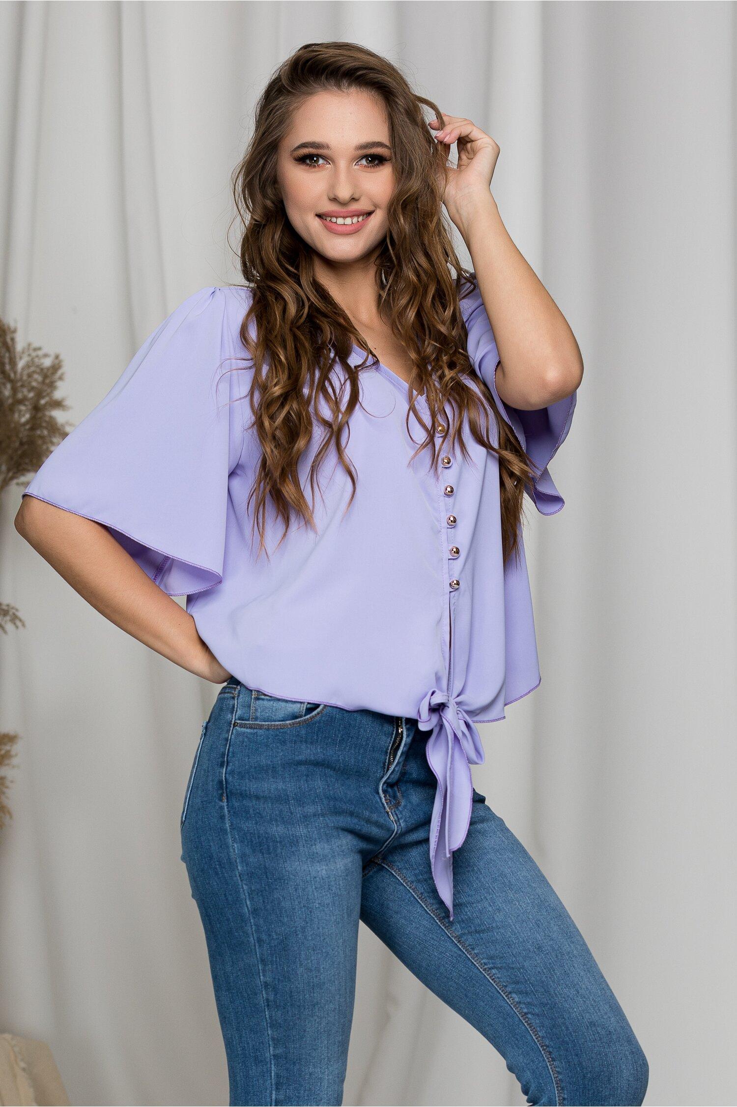 Bluza Ariana lila cu nasturi