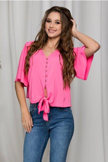Bluza Ariana roz neon cu nasturi