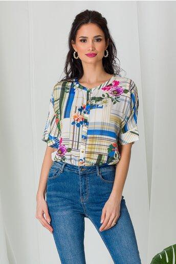 Bluza Arina cu carouri si imprimeuri florale