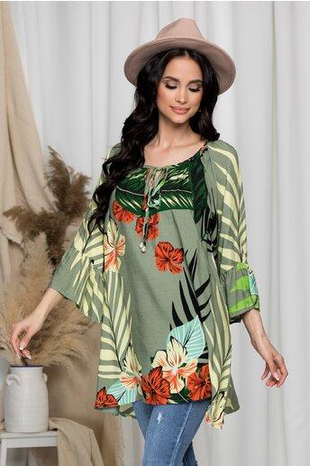 Bluza Arina kaki cu imprimeu exotic