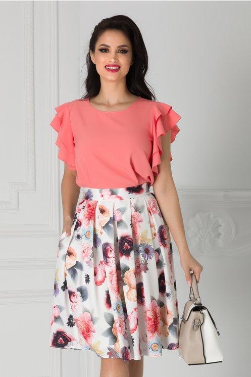Bluza Avana corai rose cu volanase la maneci