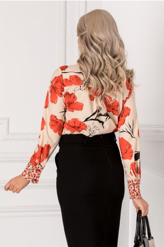 Bluza bej cu imprimeu floral rosu si fundita la gat