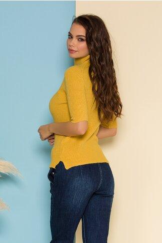 Bluza Bianca tricotata galben mustar cu maneca scurta