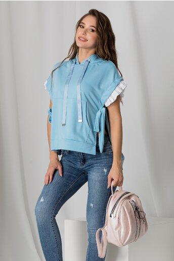 Bluza bleu cu gluga si volanase