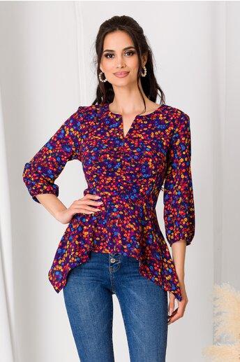 Bluza bleumarin cu floricele colorate si fermoar la bust