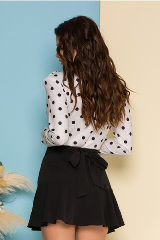 Bluza body satinata bej cu buline negre