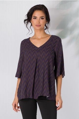 Bluza Bonnie bleumarin cu imprimeu maro