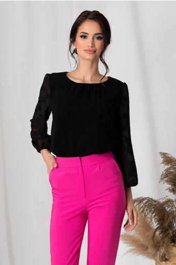 Bluza Bonnie neagra cu maneci din voal cu modele