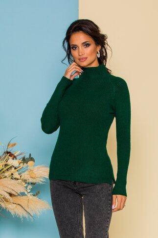 Bluza Bonny verde pin din tricot cu maneci lungi