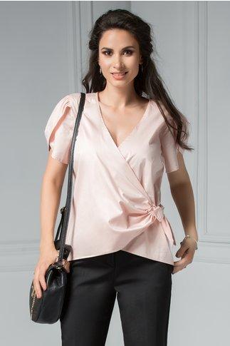 Bluza Brise Glafira roz petrecuta cu manecute vaporoase