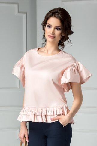 Bluza Brise roz din bumbac cu volanase