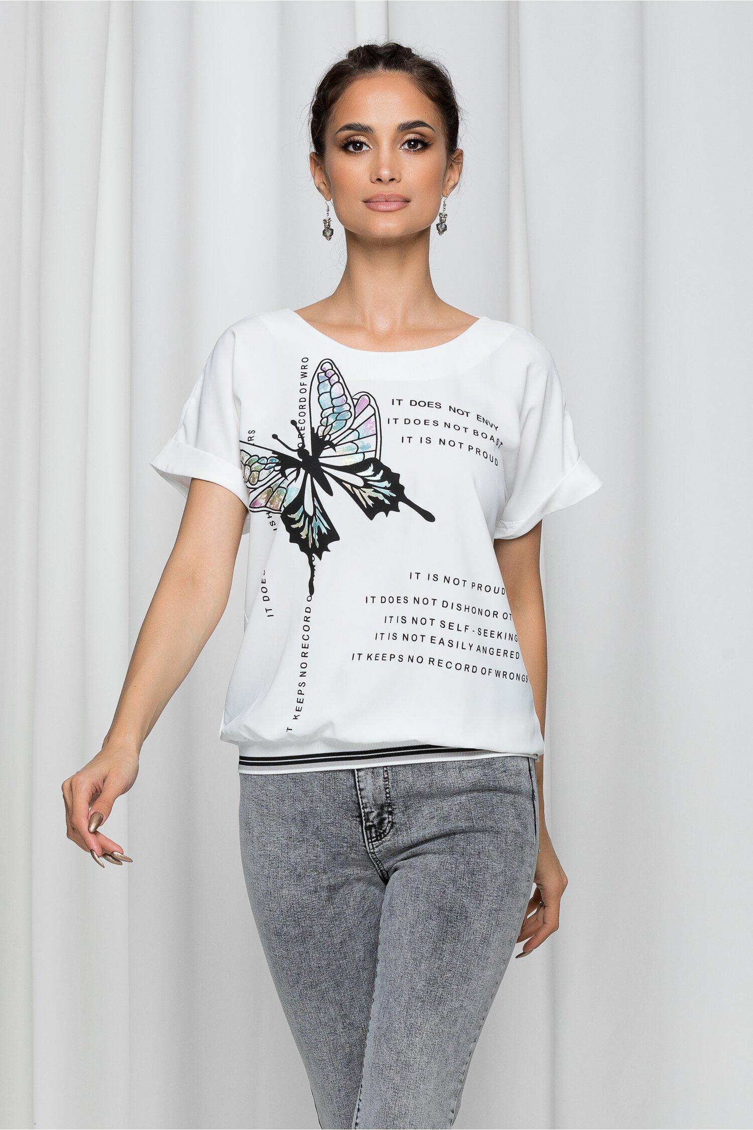 Bluza Butterfly alba cu elastic la baza