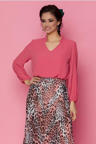 Bluza Bya roz lejera cu maneci lungi in pliuri