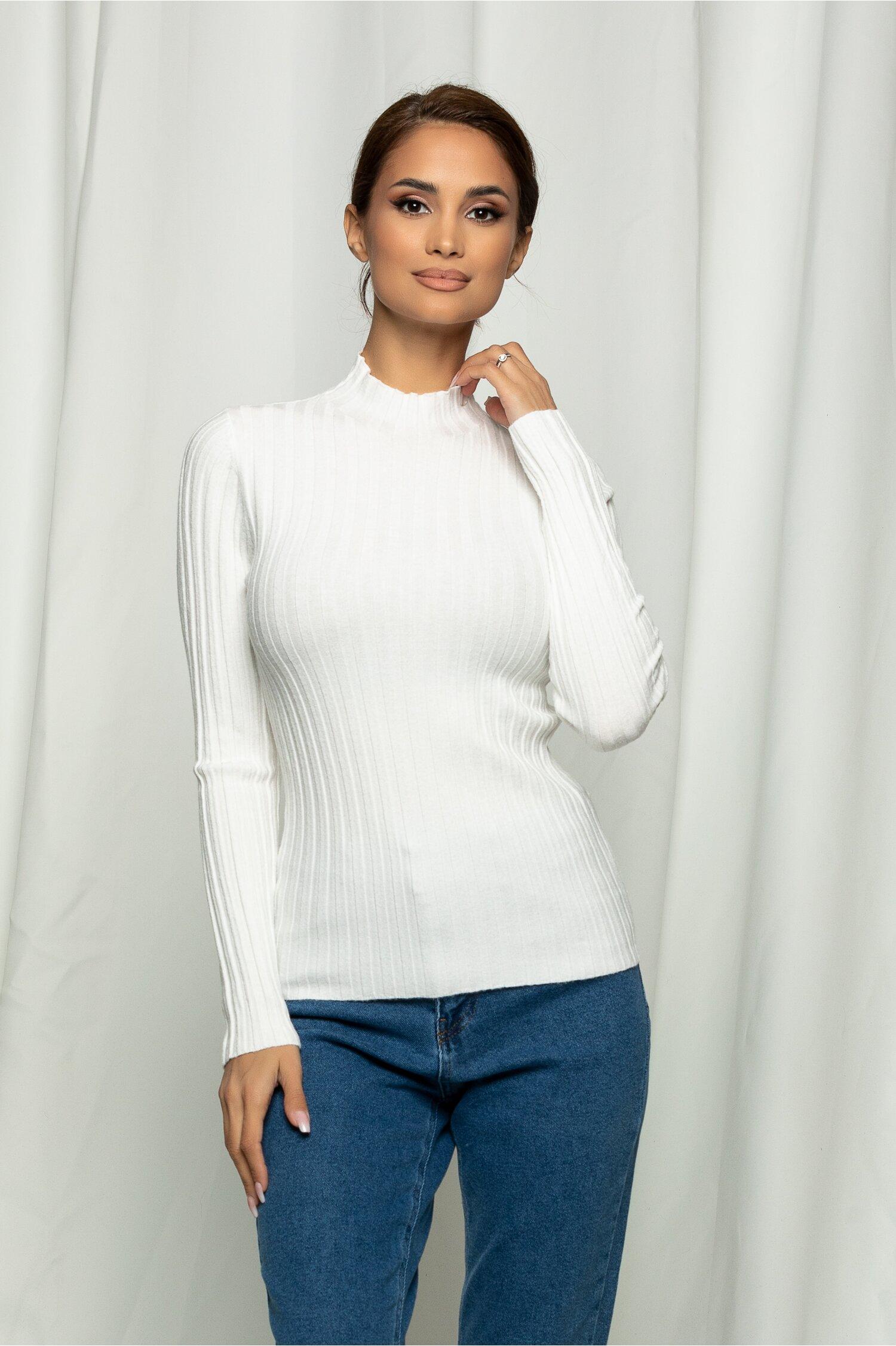 Bluza Cami alba din tricot reiat