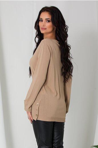 Bluza Cami crem lejera cu nasturi la baza pe lateral