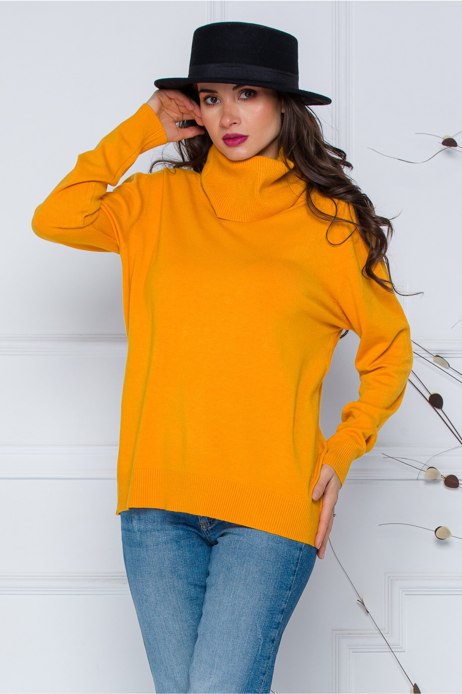 Bluza Cami galben mustar cu guler maxi imagine