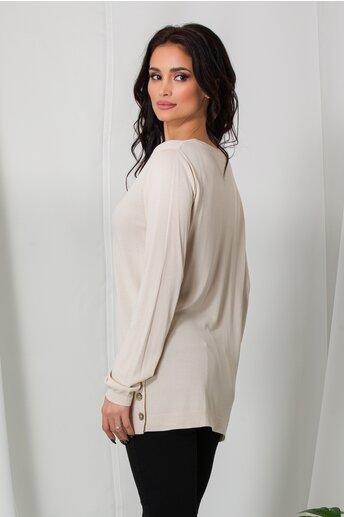 Bluza Cami ivory lejera cu nasturi la baza pe lateral