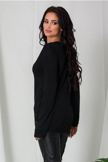 Bluza Cami neagra lejera cu nasturi la baza pe lateral