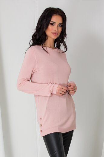 Bluza Cami roz lejera cu nasturi la baza pe lateral