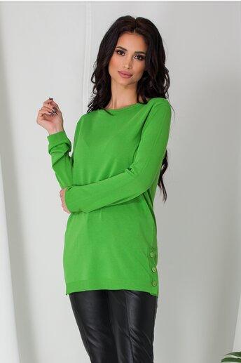 Bluza Cami verde lejera cu nasturi la baza pe lateral