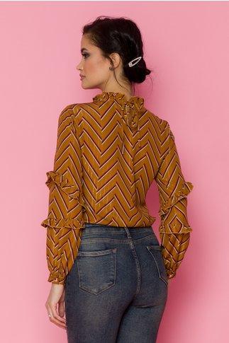 Bluza Camy maro cu dungi si insertii aurii
