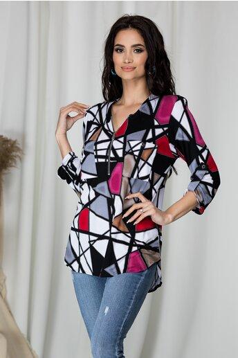 Bluza Carina alba cu imprimeuri geometrice roz si rosii