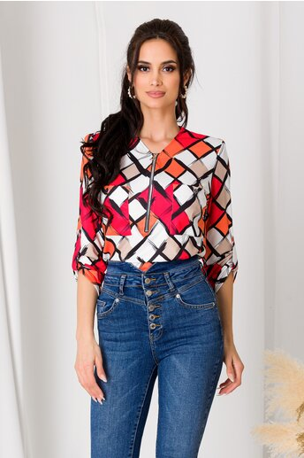Bluza Carina alba cu romburi rosii si orange