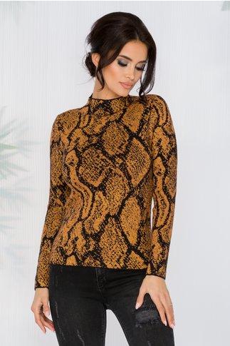 Bluza Carina maro cu imprimeuri negre si insertii din fir auriu
