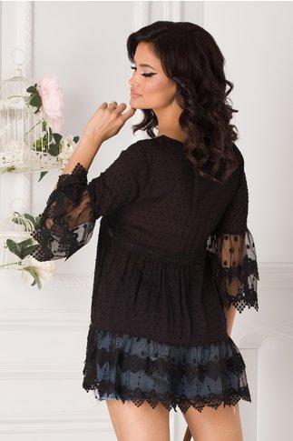 Bluza Carina neagra cu insertii din dantela