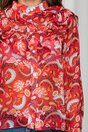 Bluza Carina rosie cu imprimeuri si volanase