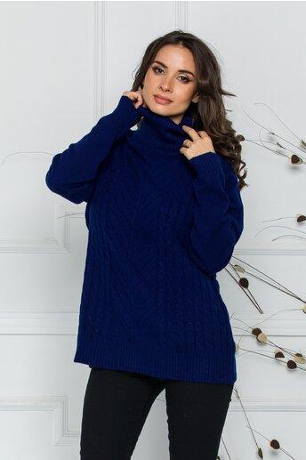 Bluza Carmen albastra cu guler inalt si design impletit