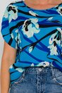 Bluza Carmen albastra cu imprimeuri florale