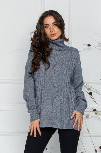 Bluza Carmen gri cu guler inalt si design impletit