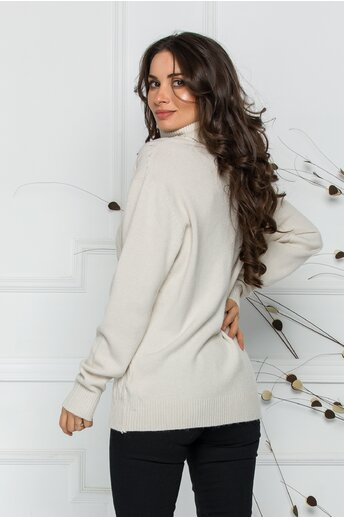 Bluza Carmen ivore cu guler inalt si design impletit