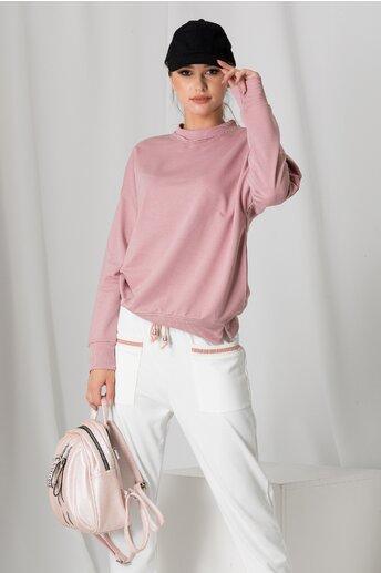 Bluza casual roz cu croi lejer