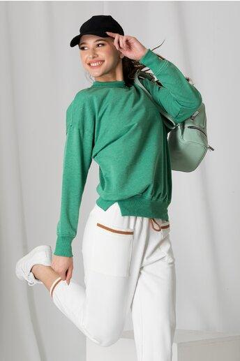 Bluza casual verde cu croi lejer