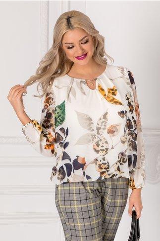 Bluza Cate alba cu imprimeu floral multicolor