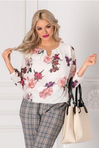 Bluza Cate alba cu imprimeu floral roz