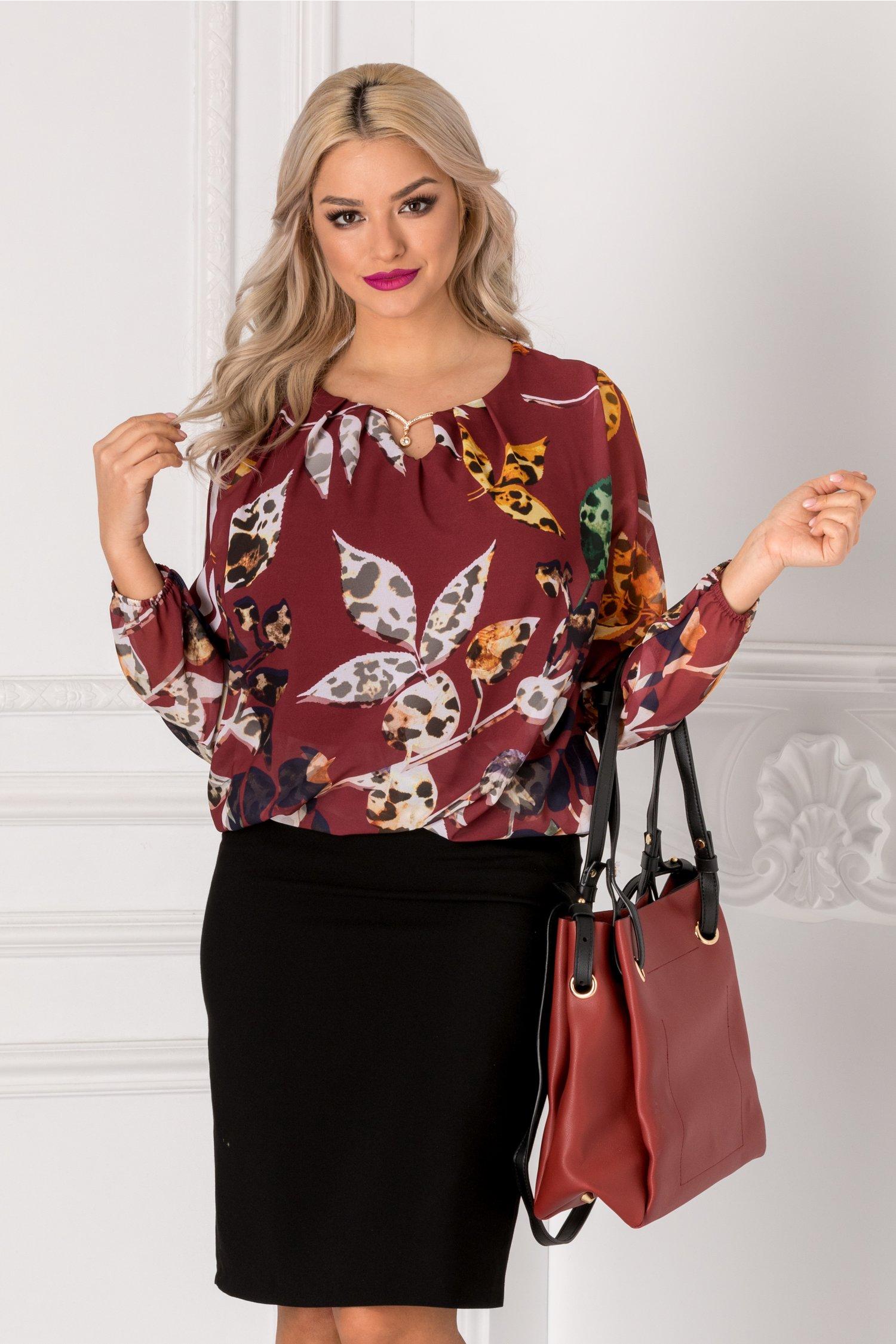 Bluza Cate bordo cu imprimeu floral bej
