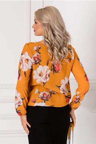 Bluza Cate galben mustar cu imprimeu floral