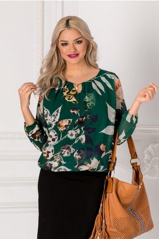 Bluza Cate verde cu imprimeu floral bej